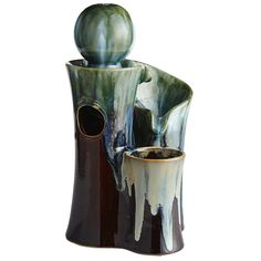 Ceramic Sculpture 3-Tier Tabletop Fountain