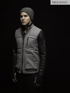 SJ109-H. GREY-SNIPER QUILTED JKT // AKB104-CHAR-CHAIN KNIT BEANIE