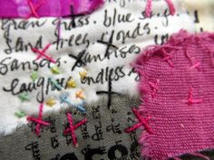 "JaneVille: in progress, from my ""Text on Textiles"" workshop"