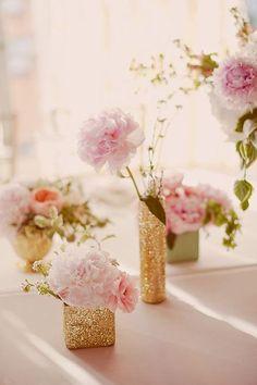 Gold glitter vases