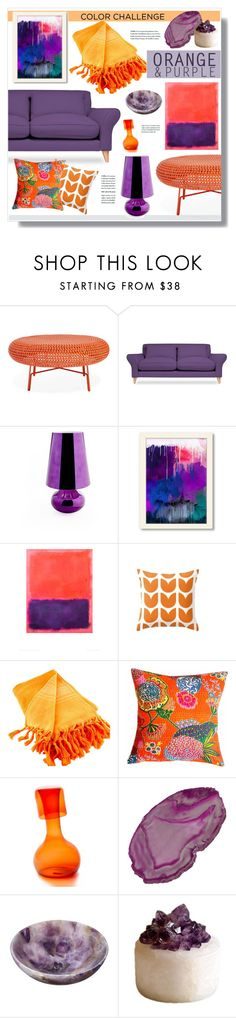 """""""Orange and Purple!"""" by hellodollface ❤ liked on Polyvore featuring interior, interiors, interior design, home, home decor, interior decorating, Kartell, Americanflat, Scents & Feel and Esque Studio"""