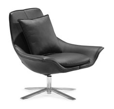 Get exceptional comfort and relaxation by sinking into the elegant and stylish Telstar Black Lounge Chair. This amazing lounge chair features a comfortable foam seating with an integrated seat cushion. The backrest has a plush pillow to offer supreme comfort to your back. The stainless steel base offers excellent strength and stability. The luxurious seating is wrapped in supple black leatherette for an enhanced look.