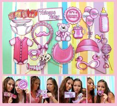 READY MADE Baby girl photo booth props in pink - perfect for a baby shower or a welcome party for your bundle of joy - yeah, it's a girl Welcome Baby Signs, Welcome To The Party, Cute Baby Photos, Baby Girl Photos, Baby Teddy Bear, Baby Bonnets, Baby Blocks, Baby Shower, Photo Booth Props