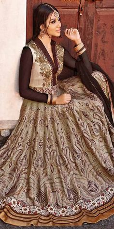Wondrous Brown Color Churidar Style In Long Anarkali Look.