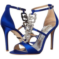 Badgley Mischka Allie (Violet Satin/Silk Chiffon) High Heels (204,730 KRW) ❤ liked on Polyvore featuring shoes, sandals, blue, blue shoes, blue satin shoes, blue sandals, blue evening shoes and t strap sandals