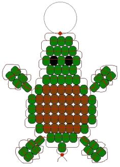 Pony Bead turtle-brings back so many memories Pony Bead Projects, Pony Bead Crafts, Beaded Crafts, Beading Projects, Pony Bead Patterns, Beaded Jewelry Patterns, Beading Patterns, Loom Patterns, Bracelet Patterns