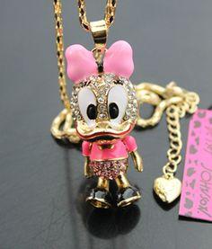 R582F  Betsey Johnson Crystal Enamel Lovely duck Pendant Sweater Chain Necklace #BetseyJohnson #Pendant