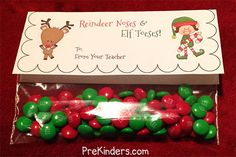 Christmas Reindeer Noses Bag Topper @ PreKinders.com