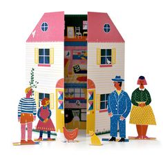 A beautiful paper doll's house, inspired by mid century design classics by Louise Lockhart for The Printed Peanut.With a family and pets to cut out and play and you can. Paper Doll House, Paper Houses, Paper Toys, Paper Crafts, Dolls House Shop, Doll Houses, Libros Pop-up, Papier Diy, Traditional Toys