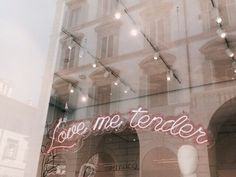 Love Me Tender Elvis Lyrics Quote Sign Pink Script Neon Typography Light Up Storefront Urban City Boutique Sign
