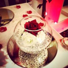 centros de mesa en peceras con flores