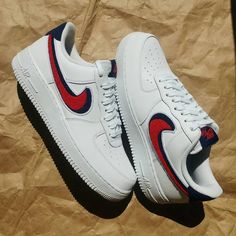 £69 Nike Air Force 1 Low Chenille Swoosh White Leather Sneakers   trendingshoes 344a380612329