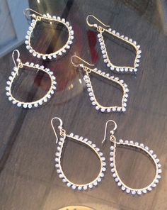 """Chic new hoops with white topaz on gold- perfect for your everyday or an evening out. An absolute """"must have"""" this Spring. $88"""