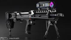 "edonguraziu: "" AKULA Ballistic - Concept Design ~ EDONGURAZIU Concept Design of a futuristic weapon platform using case-less ammunition, heavy CHF-B (cold hammer forged barrel), NRPC (nylon reinforced polymer chassis), ergonomic extendable stock with..."