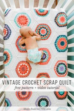 Inspired by vintage quilt patterns, this Grandmother's Flower Garden crochet blanket pattern perfect to make from yarn cakes or yarn scraps. Worked as individual hexagons with the option to join as yo Crochet Afghans, Motifs Afghans, Crochet Hexagon Blanket, Afghan Crochet Patterns, Crochet Squares, Crochet Stitches, Knit Crochet, Quilt Patterns, Scrap Yarn Crochet
