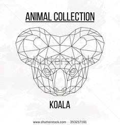 Koala head geometric lines silhouette isolated on white background vintage vector design element image