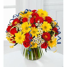 Send Flowers to United States (USA), Same Day Florist Delivery Online Flower Shop, Order Flowers Online, Happy Birthday Mom, Mother Birthday Gifts, Send Flowers, Pretty Flowers, Yellow Daisies, Flowers Delivered, Funeral Flowers