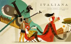 """Illustrations covers for magazine """"Italiana""""festival cinema di Roma Simple Illustration, Graphic Illustration, Graphic Art, Poster Text, Vintage Cartoon, Creative Industries, Illustrations And Posters, Contemporary Paintings, The New Yorker"""