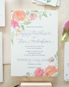Whimsical poppy and eucalyptus watercolor wedding invitations with script lettering and watercolor florals by Bright Room Studio Whimsical Wedding Invitations, Spring Wedding Invitations, Wedding Invitation Card Design, Flower Invitation, Wedding Stationery, Invitation Suite, Wedding Card, Save The Date Karten, Watercolor Wedding Invitations
