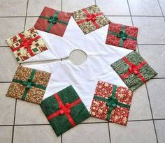 Fabric Crafts Gifts Link - Christmas Tree Skirt Quilted Presents Holiday Print Packages Made To Order. Xmas Tree Skirts, Christmas Tree Skirts Patterns, Christmas Skirt, Christmas Sewing, Noel Christmas, Christmas Ornaments, Christmas Glasses, Crochet Christmas, Christmas Christmas