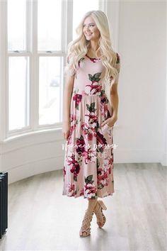 Dusty Pink Rose Floral Pocket Maxi Dress, Modest Dress, Bridesmaids Dress, Church Dresses, dresses for church, modest bridesmaids dresses, best modest boutique, modest womens clothing, affordable modest dresses, cute modest clothes
