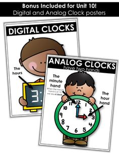 Digital and Analog Clocks Posters!  Perfect to use as an anchor chart for telling time to the hour in Kindergarten!