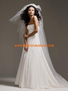 David's sans bretelle robe de mariée blanche avec traîne courte pas cher mousseline