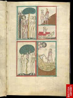 Miniature of four scenes: 1.God showing Adam and Eve the tree; 2. the Fall; 3. Cain and Abel; 4. Noah building the Ark.   Origin:England, S. E. (London) Noah Building The Ark, Cain And Abel, Creation Myth, Medieval Books, Bible Illustrations, Library Catalog, Book Of Hours, Adam And Eve, British Library