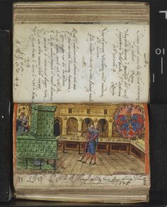 nice Kachelofen in the Schad album amicorum, dated entries 1594-1620 -- via the Herzogin Anna Amalia Bibliothek, Weimar