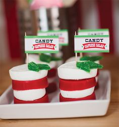 Candy Caprese Salad for a Little Chefs Pizza Party - SO clever!!
