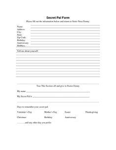 secret sister questionnaire   Secret Pal Form - Download as PDF