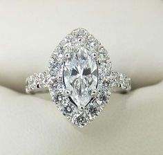 Marquise Diamond Engagement Ring With Halo Ring And White Gold ...