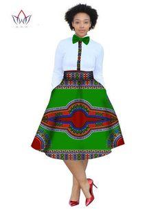 2017 christmas dress Plus Size 2 Pieces African Print Dashiki Shirt Skirt Set Bazin Rche Femme Africa Clothing natural African Print Skirt, African Print Dresses, African Print Fashion, Africa Fashion, African Fashion Dresses, African Dress, Fashion Outfits, Fashion Ideas, African Outfits