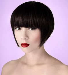 A-line bob with blunt bangs