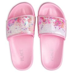 Shop for The Children's Place Girls Confetti Shaker Faux Leather Slides. Check out our great selection of kids clothes, baby clothes & more at the PLACE where big fashion meets little prices! Cute Girl Shoes, Girls Shoes, 10 Years Girl Dress, Baby G Shock Watches, Makeup Kit For Kids, Indian Shoes, Unicorn Fashion, Cute Slippers, Plastic Shoes