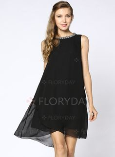 Dresses - $67.91 - Chiffon Polyester Solid Sleeveless High Low Elegant Dresses (1955123744)