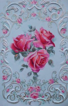 french rose  painting  rococo victorian. $185.00, via Etsy.