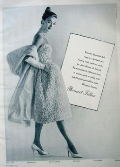Evelyn Tripp models dress by John Moore of Talmack. Photo by Louise Dahl-Wolfe, 1959