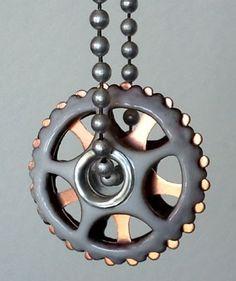 Opposites UFO-Steampunk Enameled Metal Focal Bead