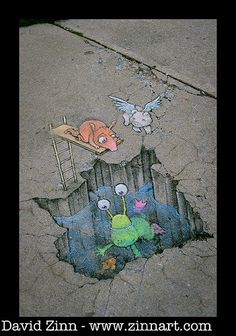 "Artwork by David Zinn www.zinnart.com Photo by Mike Langford   Made by streetartist ""david zinn"" - #streetart #aryz - Click for more streetart"