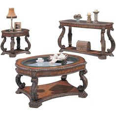 Coaster 3892 Traditional Brown 2pc Coffee End Table Set