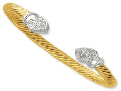 Sterling Silver Gold Plated CZ Cable Cuff Bangle Bracelet (Online at Gemologica.com)