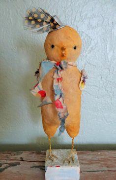 Nostalgic Folk Art,Carol Roll,mixed media vintage mohair inspired little chick sculpture by NostalgicFolkArt on Etsy