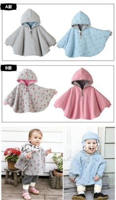 Floral Pattern Reversible top Baby Boy Girl Tooler Hoodie Cloak Poncho Cape…