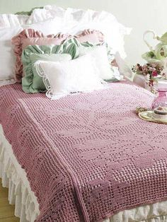 Bed of Roses Filet throw -- crochet pattern
