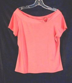 Fashion Coral Nylon Med. Top Deep Scoop Neck Silver Ring  #Unbranded #KnitTop #Career