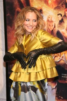Sienna Guillory in opera long leather opera gloves at InkHeart New York Premier. - credits to spd5mx. 1:45 4:32 4:09