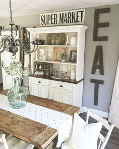 18 The Do This Get That Guide On Dinning Room Ideas Small Farmhouse Style 14 - diy Dining room hutch Dining Room Hutch, Dining Room Furniture, Dining Rooms, Kitchen Hutch, Dining Decor, Diy Interior, Home Design, Ranch Decor, Kitchen Benches