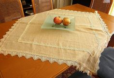 Shabby chic elegant linen lace tablecloth by ClassyInteriorsDeco