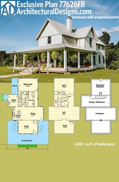 Architectural Designs Exclusive Farmhouse Plan 77626FB has a front porch that partially wraps each side of the home. There is a second porch on the back-left side accessible from the master suite. Two beds and a loft are on the second floor and the home is designed on a partial basement.  Ready when you are. Where do YOU want to build?